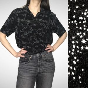 Hot Topic Stars Shirt Button-Up Blouse Witch Black